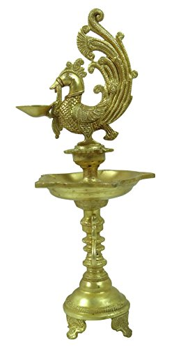 Beautiful Gold Tone Decorated Brass Peacock Oil Lamp Stand Diya Home Decore