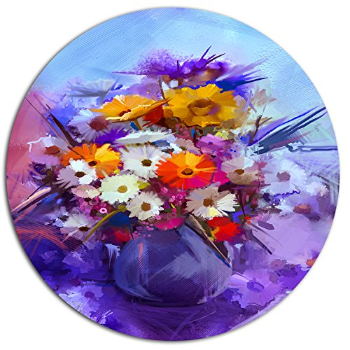 Designart MT14110 C11 Watercolor Flowers in Purple Vase Floral Disc 11 x 11 Purple
