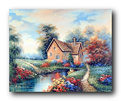 Scenery Wall Decor Country Cottage Garden Flowers River Landscape Art Print Poster 16x20