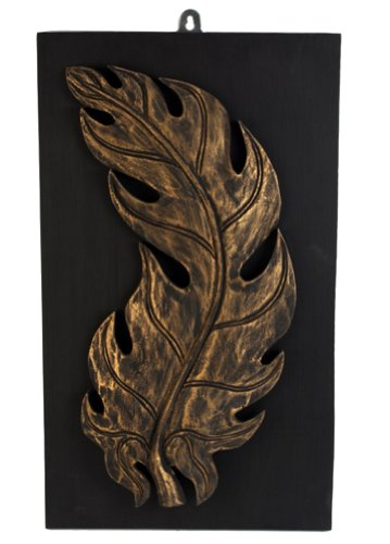 Thai Hand-Carved Wall Decor - Burnished Gold Fire Leaf Panel - Left