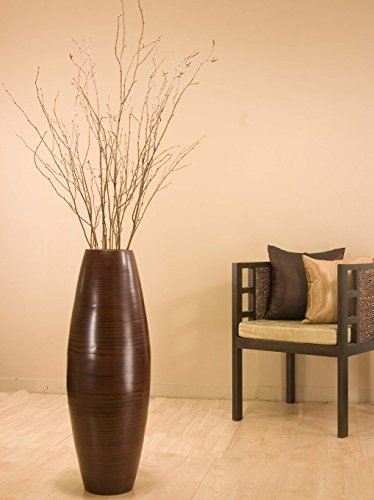 GreenFloralCrafts 36 in Bamboo Cylinder Floor Vase Birch Branches Cocoa Brown