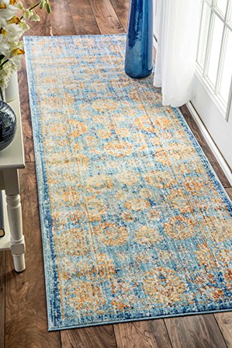 nuLOOM Traditional Vintage Faded Damask Border Runner Area Rugs 2 6 x 8 Aqua