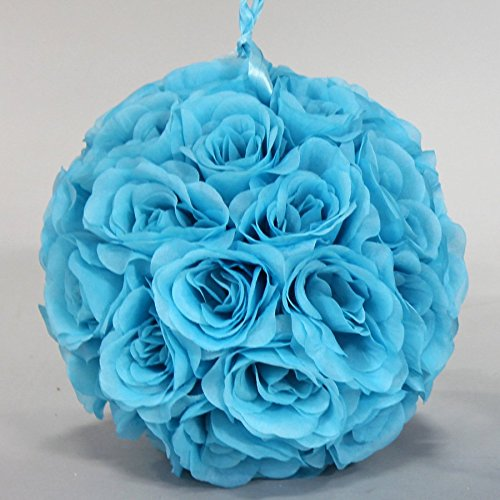 Faux Rose Kissing Ball in Turquoise - 10 Diameter