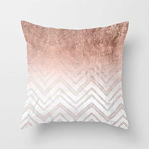UOOPOO Print Modern Faux Rose Gold Ombre Chevron Sticth White Marble Pattern Throw Pillow Case Square 20 x 20 Inches Cotton Canvas Cushion CoverNot Real Rose Gold Gillter Just Print Pillow Cover