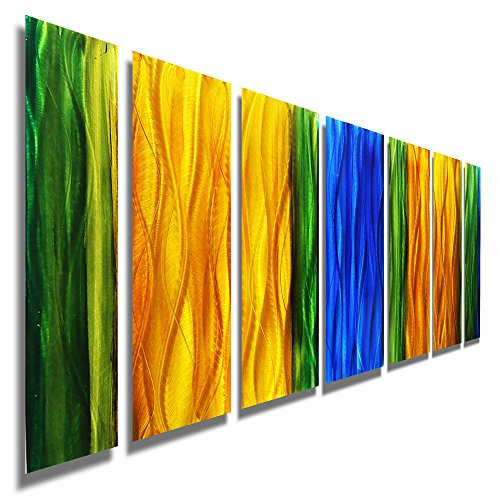 Large Multi-Color Abstract Metal Art - Modern Painting - Colorful Contemporary Wall Accent - Wavelength by Jon Allen