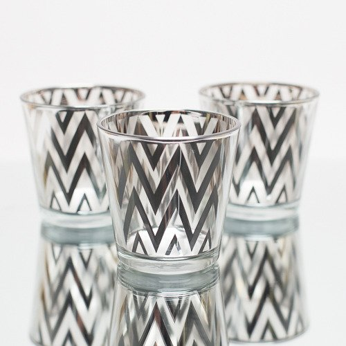 Richland Chevron Silver Metallic Glass Candle Holder Medium Set of 6