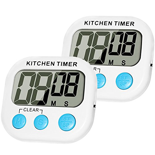 Digital Kitchen Timer MOMONY 2 Pack Cooking Timer Clocks Loud Alarm Large LCD Display with Magnetic Back and Retractable StandMinute Second Countdown and Up