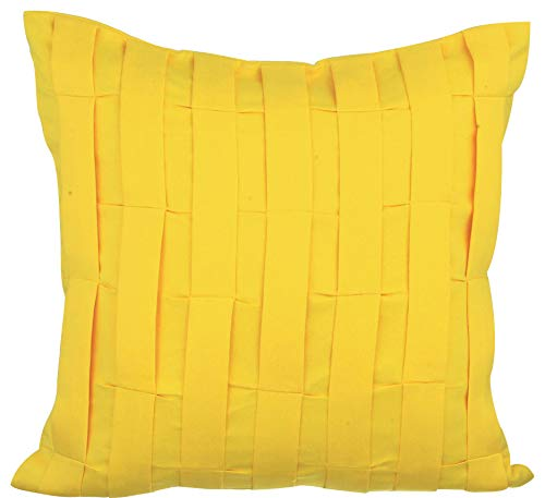 The HomeCentric Decorative Pillow Covers 22x22 inch 55x55 cm Yellow Suede Throw Pillow Covers Handmade Pillow Covers Solid Color Pillow Covers Modern Accent Pillow Covers - Yellow Love Tune
