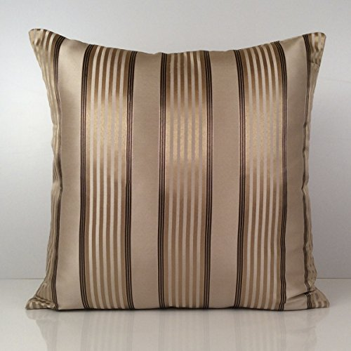 Beige Pillow Striped Pillow Throw Pillow Cover Decorative Pillow Cover Cushion Cover Accent Pillow Satin Blend Light Brown and Gold 12x12
