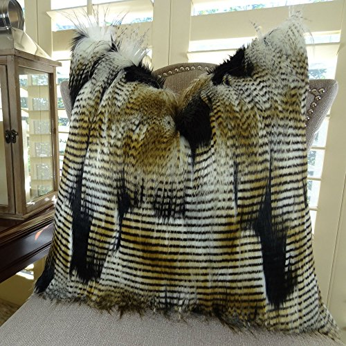 Black Gold White Fur Throw Pillow Fancy Feather Fur Pillow White Gold Black Feather Faux Fur Throw Pillow Soft Faux Fur Handmade in USA Thomas Collection 17407