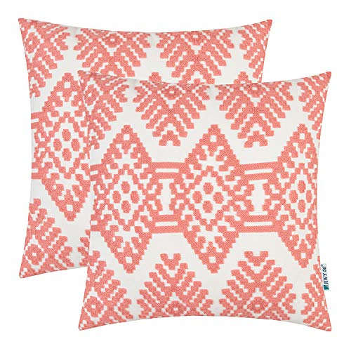 HWY 50 Embroidered Decorative Throw Pillow Covers Set Cushion Cases for Couch Sofa Living Room Coral Pink Modern Rhombus Geometric 18 x 18 inch Pack of 2
