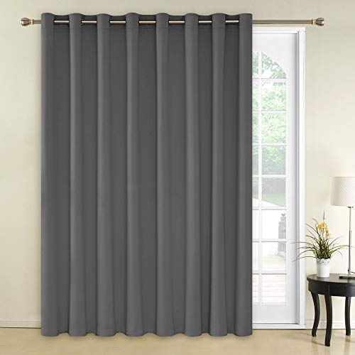 Deconovo Thermal Insulated Blackout Curtains 1 Panel Wide Width Curtain Grommet Room Darkening Blind Window Curtain for Nursery 100x84 Inch Light Grey 1 Panel