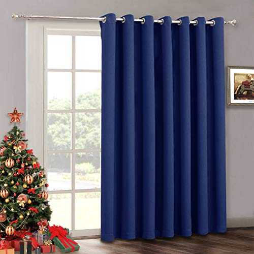 RYB HOME Vertical Blind Curtain for Living Room - Indoor Outdoor Patio Door Drape Grommet Blackout Curtains Panel for Bedroom Sliding Glass Door Gazebo 100 x 84 inches Long Marine Blue