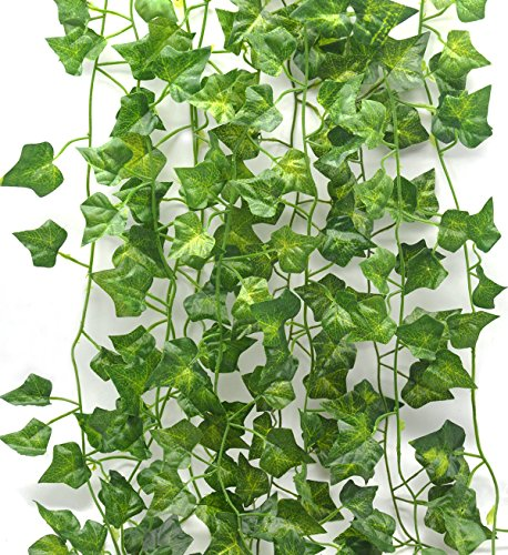 Artificial Plants 12 Strands 80-Ft Ivy Silk Greenery Fake Hanging Vine Home Garden Wall Decoration Wedding Party Plant Leaves Garland