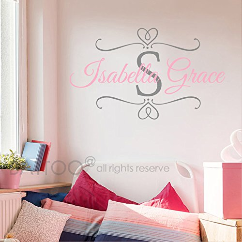 BATTOO Nursery Baby Girl Name Initial Wall Decal - Custom Name Decals Monogram Personalized Wall Art Scroll Decal Girl Bedroom Decor