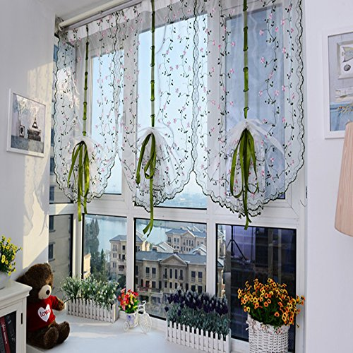 AUSWIND Green Leaf with Pink Flower Roman Embroidered Sheer Rod Pocket Top Sheer Fabric Blinds Drapes one Panel 31x59