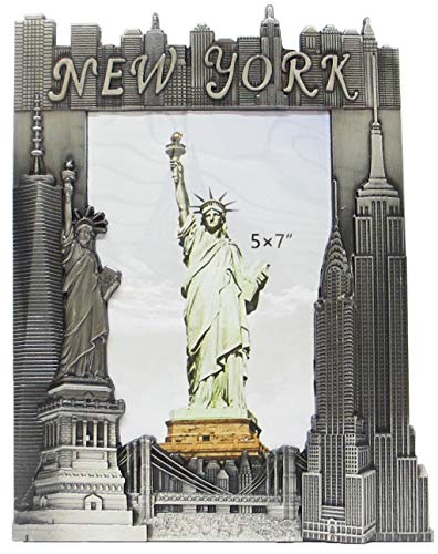 New York Souvenir Metal Pewter Picture Frame with Statue of Liberty Empire State Building Freedom Tower NYC Skyline Fits 5x7 Photo