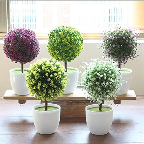 Lopkey Green Mini Artificial Flowers Tree Ball for Home Decor Indoor Ornaments Artificial Potted Plant Random Color