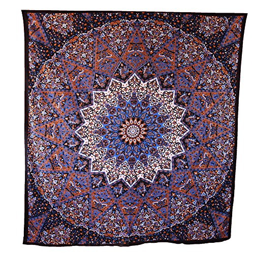 Handicrunch Hippie Mandala Tapestry Brown Tapestry Wall Hanging Indian Tapestry Large Table Runner Bed Cover Indian Art Cotton Bohemian Tapestry Hippie Tapestry Cotton Bed Sheet Decor Art Wall Hanging