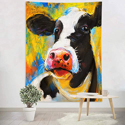 LB Painting Style Cow Wall Tapestry Watercolor Milk Cow Head in Blue Yellow Background Pop Art Tapestry Wall Hanging for Kids Bedroom Living Dining Room College Dorm Decor 60Lx40W