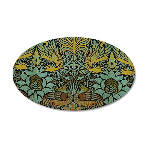CafePress - Peacock And Dragon William Morris Tapestry Design - 20x12 Oval Wall Decal Vinyl Wall Peel Reusable Wall Cling