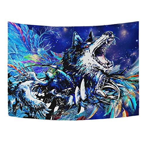 WHBAG Wolf Tapestry 3D Psychedelic Tapestries Constellation Colorful Feather Walling Hanging Galaxy Purple Trippy Tapestry Oil Painting Style for Men Boys 60x 51