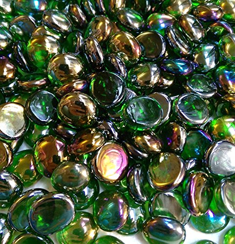 Miracolors - 1 Lb - Green Irid Glass Gems - Vase Fillers 14-17mm Approx 58