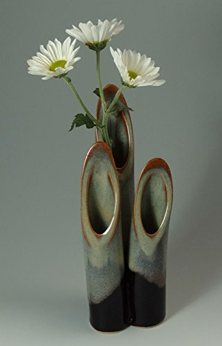 Ceramic Stem Vase in Multi-Hued Blues Tan with Black Base Pottery Bud Vase Colorful Flower Vase