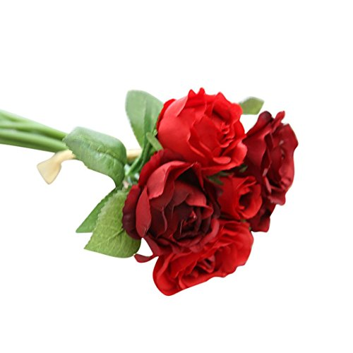 Gillberry 7 Heads Artificial Silk Fake Flowers Leaf Rose Wedding Floral Decor Bouquet Red