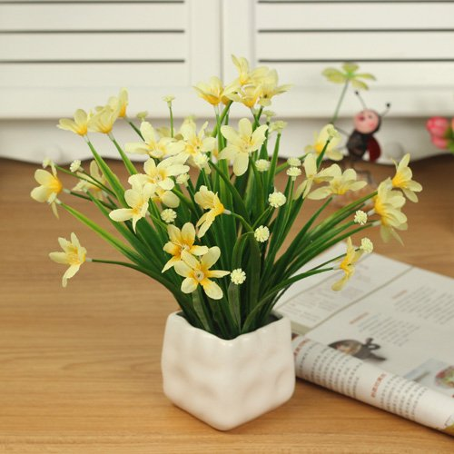 XHOPOS HOME Artificial Flowers Creative bouquets Potted plants yellow Orchid  Vase Home Decorations for Valentines Day Gifts Party Event Real Vivid Touch