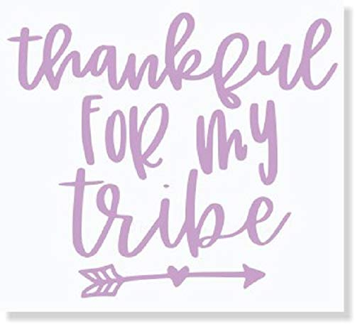 Wall Decor Plus More Car Window Decals Thankful for My Tribe Vinyl Letters Sticker Mom Quote 75x65-Inch Glossy Lilac