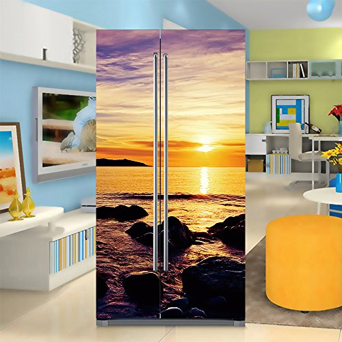 yazi Side-by-side Refrigerator Full Door Cover Decal Vinyl Removable Sticker Kitchen Art Décor Reefin 20x71 inches by 2 pieces