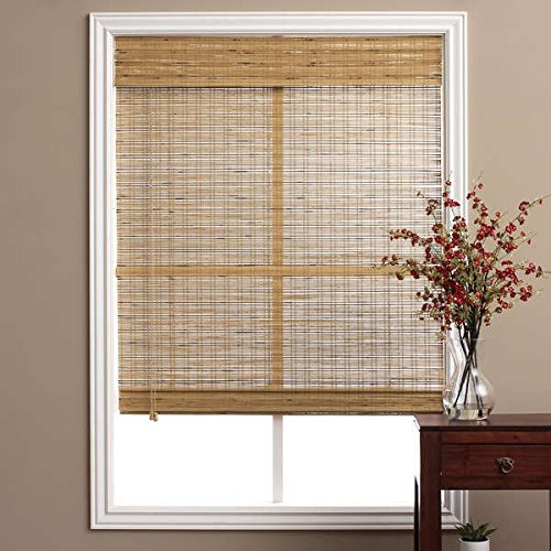 Single Piece Brown Tuscan Bamboo 705 Inch x 74 Inch Long Roman Shade Curtain Energy Efficient Bamboo And Other Eco-Friendly Material Features Easy To Clean Taupe Beige Coffee Mocha Walnut