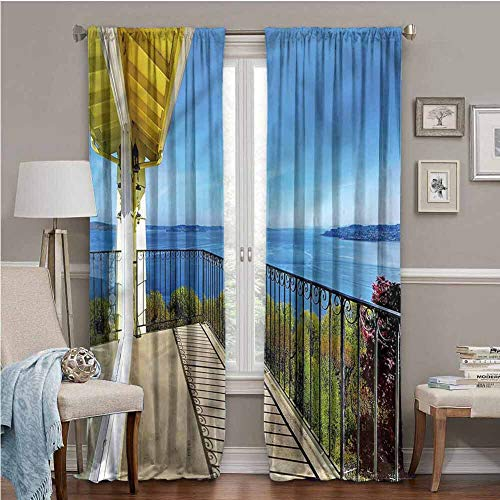 ParadiseDecor Modern Window Drapes for Bedroom Blackout Window Curtain 96 x 96 Summer Sunny Day Ocean