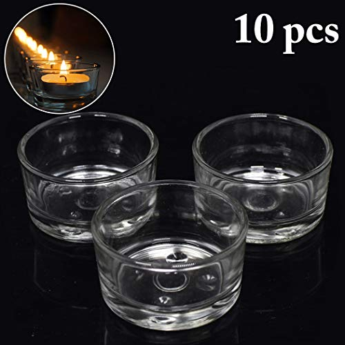 Coxeer 10PCS Candle Holder Clear DIY Decorative Glass Candle Cup Tealight Candle Holder
