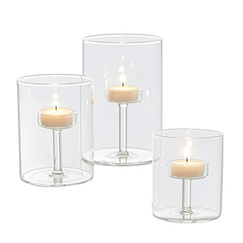 ZSY Three-Piece Glass Candle Cup Protect The Candle from Wind Candle Light Dinner Props Suitable for Home Bar Restaurant