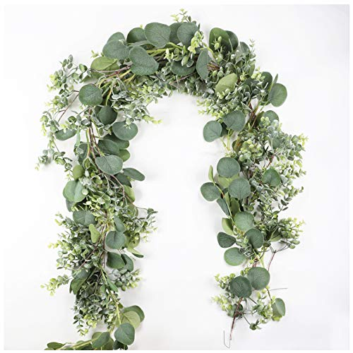 Aonewoe 2 Pack Eucalyptus Greenery Garland 13FtTotal Silk Artificial Garland for Wedding Table Centerpiece Party Home Decoration13FtTotal