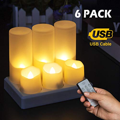 Rechargeable Flameless Candle Tea Lights LED Flickering Realistic Flames Fake Candle Lights with Remote&TimerWarm White Emergency Bright Tealights for Illumination VowMarry MeChristmas Decoration
