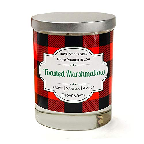 Toasted Marshmallow  Clove Vanilla Amber  Buffalo Plaid Luxury Scented Soy Candle  10 Oz Glass Jar Scented Candle  Made in the USA  Decorative Candles  Best Smelling Candles for Home
