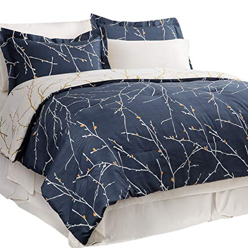 Bedsure 6-Piece Twin Size Bed-in-A-Bag All Season Bedding Comforter Set Tree Branch Floral Pattern - NavyIvory 1 Comforter 1 Pillow Sham 1 Flat Sheet 1 Fitted Sheet 1 Bed Skirt 1 Pillowcase