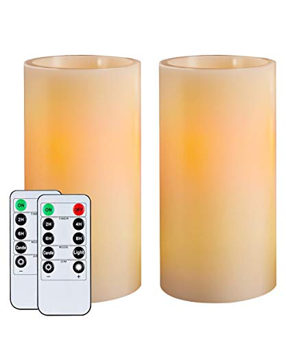 Homemory 7 Real Wax Flameless Battery Operated LED Candles 2 PCS Amber Yellow Light Realistic Pillar Candles with 2 Remote Controls Cycling 24-Hour Timer Long Battery Life 300 Hours Indoor