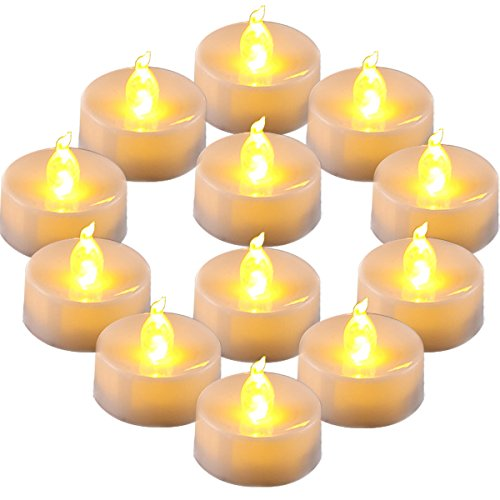 Homemory Flameless LED Tea Lights Amber Yellow Light Bulb Pack of 12 Battery Operated votive Tea Lights  Dia 14 Inch Realistic and Bright effect for Party Wedding