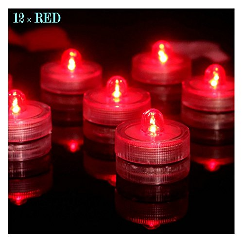 Bright LED Battery Operated Flameless Tea Light Submersible Tea Candle Waterproof Decorations Underwater Vase Light for Party and Wedding Pack of 12 Red