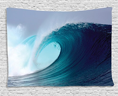 Ambesonne Ocean Decor Collection Tropical Surfing Wave On A Windy Sea Indonesia Sumatra Bedroom Living Room Dorm Wall Hanging Tapestry 80W X 60L Inch