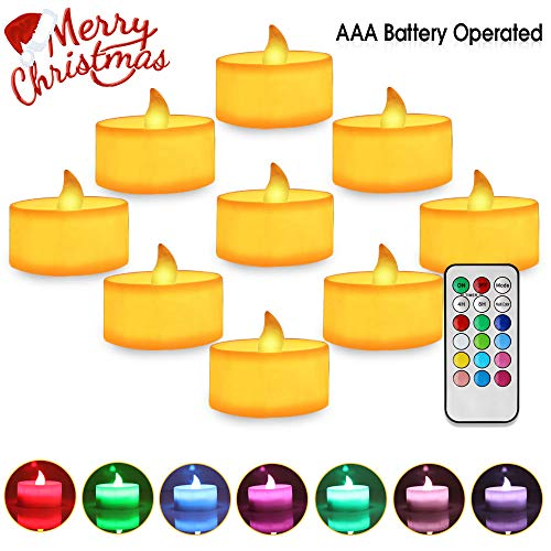 Colorful Flickering Tea Light Flameless Candle Battery Operated Led Candles with Remote Electric Candles for Votive Holder Home Wedding Seasonal Festival Lights Celebration Amber Warm White