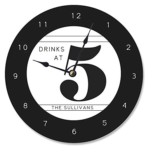 Personalized Family Bold Black and White Drinks At 5 Clock Vanity Clock