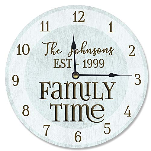 Personalized Family Time Blue Clock Vanity Clock