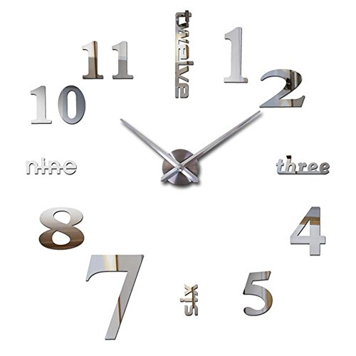Reliable_E Large Mirror Wall Clock Modern Desgin for Home Decor
