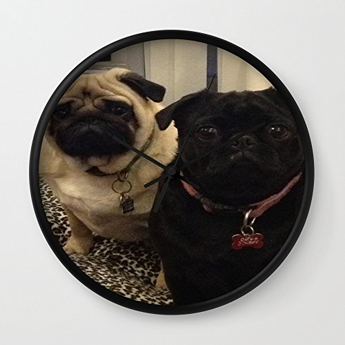 Society6 Pugs Wall Clock Black Frame Black Hands
