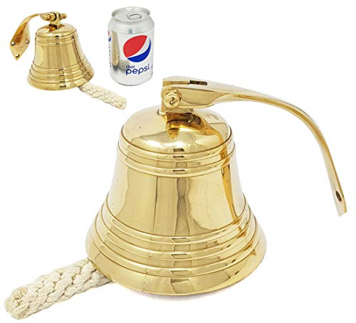 Brass Nautical - 4 inches Brass Ship Bell Polished Nautical Hanging with Wall Mount Large Decor Outdoor Replica Bell
